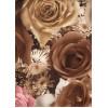 Диван-кровать с подлокотниками Классик микровелюр цветы коричневые E1004-AN8-2