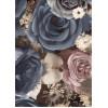 Диван-кровать с подлокотниками Классик микровелюр цветы синие E1004-P-5