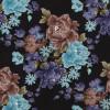 Диван-кровать с подлокотниками Классик микровелюр цветы черный E1004-Vegas