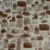 Диван-кровать с подлокотниками Классик замша молочная принт газета E1006-36