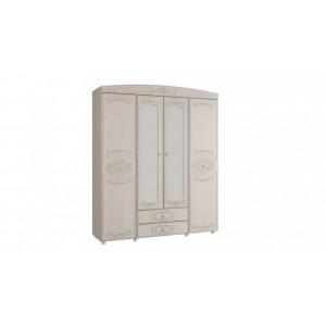 Шкаф 4-х дверный комбинированный с зеркалом Каролина