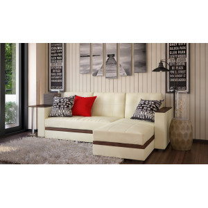Угловой диван с баром Атлант бежевый