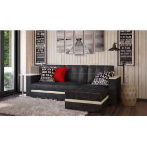 Угловой диван с баромАтлант черный